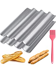 2 Pack French Baguette Pan, Nonstick Perforated Bread Baking Pan 15''×13'' Loaf Bake Mold Toast Cooking Bakers Molding 4 Wave Loaves Loaf Bake Mold Oven Toaster Pan