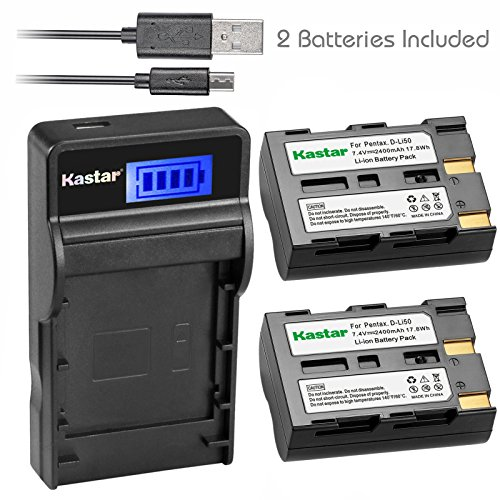 (Kastar Battery (X2) & SLIM LCD Charger for Pentax D-Li50 and Pentax K10 K10D K20 K20D Konica Minolta NP-400 Sigma BP-21 A-5 A-7 Dimage A1 A2 Dynax Maxxum 5D 7D Samsung SLB-1647 GX-10/20 Sigma SD1)