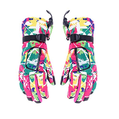 (Sikye Mens Women Ski Gloves Winter Camouflage Thermal Snow Mittens Snowmobile Cold Weather Gloves Windproof &Waterproof (Pink))