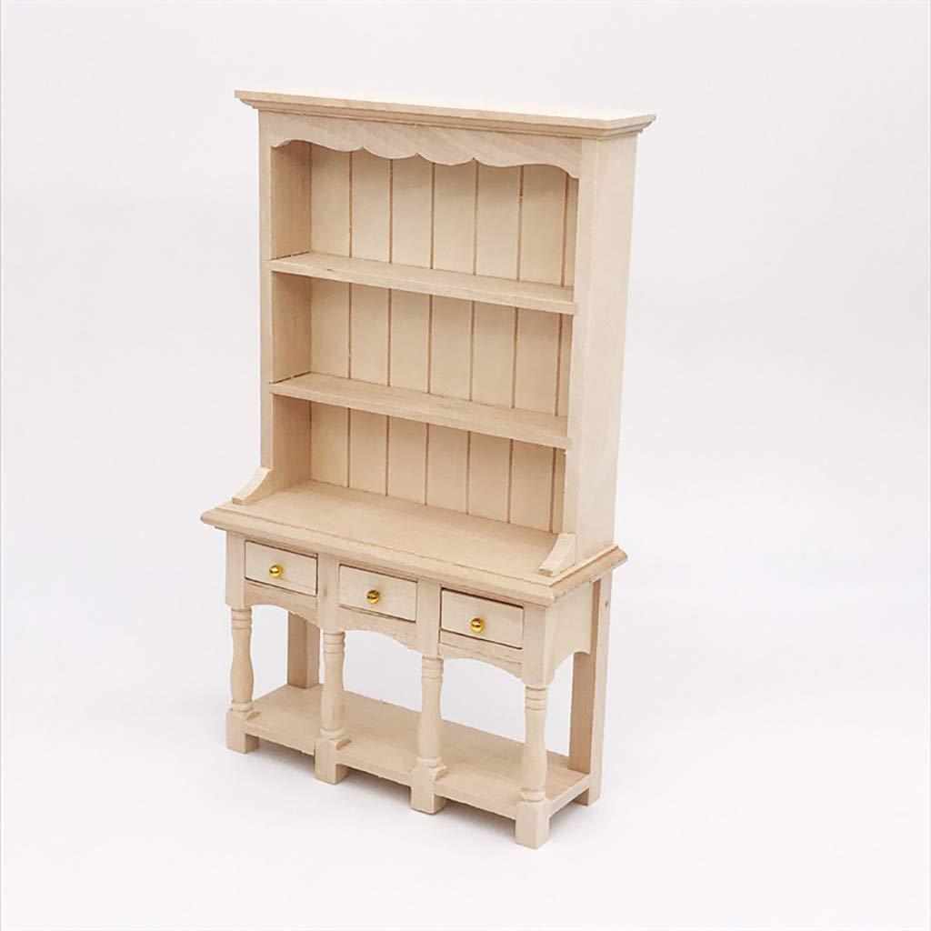 Prettyia 1//12 Miniature Bookshelf Cabinet Cupboard Dollhouse Furniture Decor
