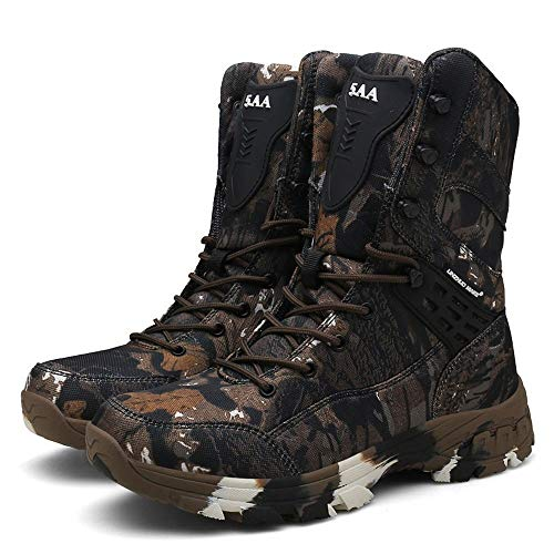 YYIN Men's Spring Outdoor Boots High Waterproof Military Boots Camouflage Combat Boots Desert Sports Shoes Anti-Slip Work Hiking Boot (Color : Brown, Size : 42)