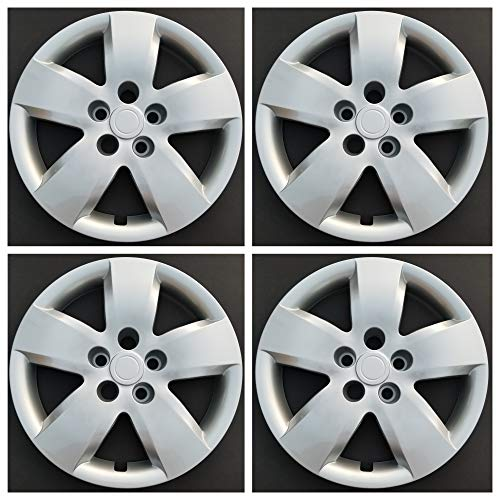 MARROW New Wheel Covers Replacements Fits 2007-2008 Nissan Altima; 16 Inch; 5 Spoke; Silver Color; Plastic; Set of 4; Bolt On