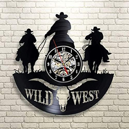 Western Cowboy Vinyl Record Wall Clock Living Room Bedroom Wall Personality Art Deco Wall Clock 12 Inches ()