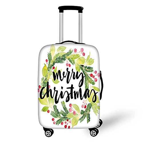 Travel Luggage Cover Suitcase Protector,Christmas,Watercolor Painting Style Christmas Wreath and Hand Lettering Mistletoe Decorative,Black Green White,for Travel (Kohls Christmas Wreath)
