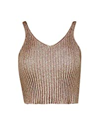 Womens Knitted Metallic Lurex Sleeveless Crop Top Ladies Ribbed V Neck Top Vest