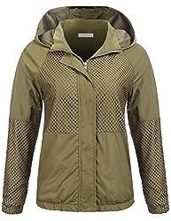 Se Miu Women Fishnet Cloth Patchwork Waterproof Hooded Jacket Windproof Coat Outwear Olive Green
