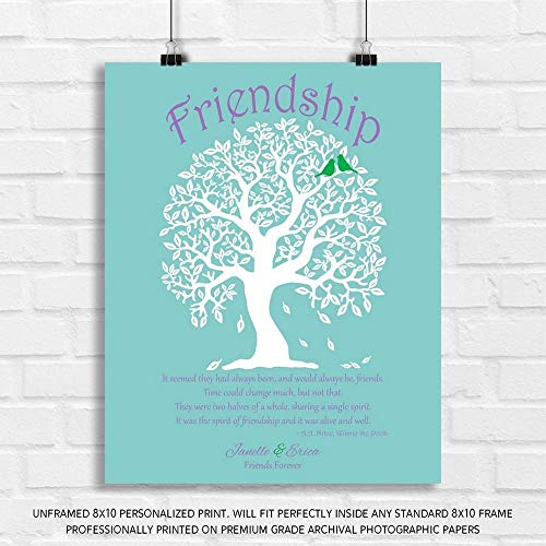 (Personalized Gift for Friendship Best Friends Quote from Winnie The Pooh by A. A. Milne Always Friends on Turquoise Scuba Blue Background - 8x10 Unframed Paper Art Print)