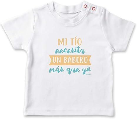 SUPERMOLON Camiseta bebé Mi tío necesita un babero más que yo Blanco 0-1 años: Amazon.es: Bebé