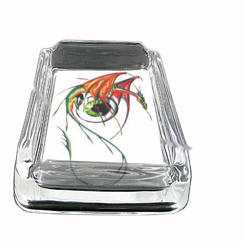 Dragon Eyeball Fantasy Tattoo Glass Square Ashtray D-139 ()