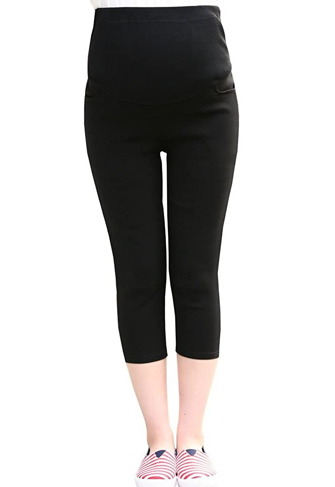 6204cf4f4bbf3 Foucome Maternity Work Office Dress Pants High Waist Capris at Amazon  Women's Clothing store: