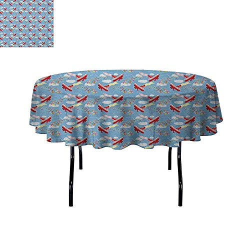 DouglasHill Airplane Waterproof Anti-Wrinkle no Pollution Retro Biplanes with Pennants Throwing Present Boxes Announcement Celebration Art Table Cloth D55 Inch Multicolor