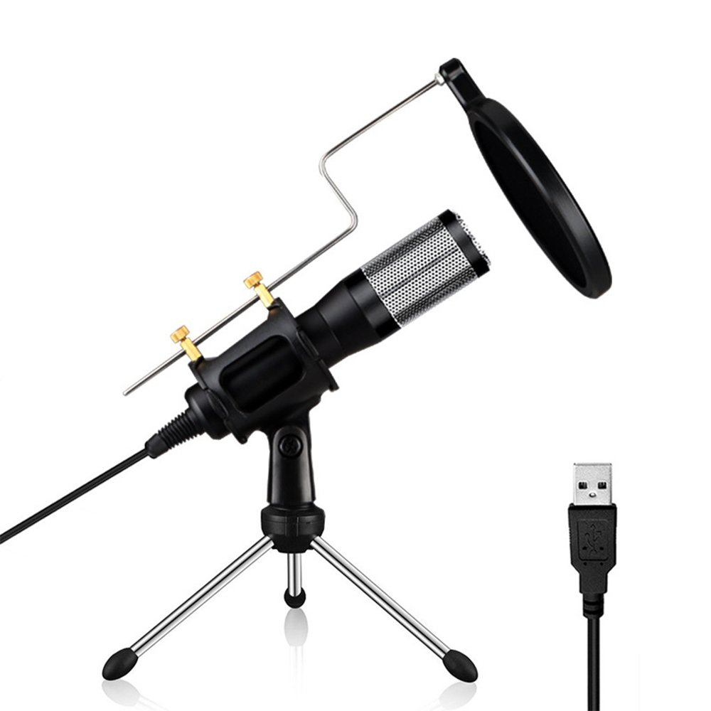 HIOTECH Condenser Microphone Professional USB Plug & Play Studio Recording Mic Microphone with Pop Filter & Tripod for Conference Youtube Facebook Podcasting Games (Windows & Mac)