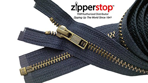 Zipperstop Wholesale YKK®- Jacket Zippers YKK® #5 Antique Brass- Metal Teeth Separating for Crafter's Special Color Navy #560 Made in USA- Custom Length (Length 22 Inch)