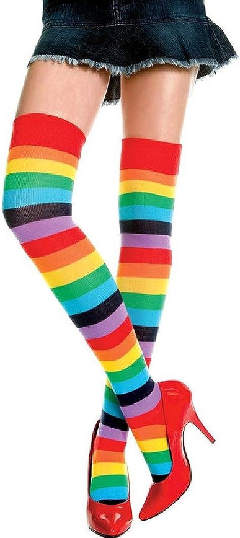 krautwear Sirop Wear/® Femme gestreifte Bas Dessus du Genou ringelstr/ümpfe Carnaval de Cosplay ANN/ÉES 80