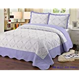 Quilt King Size 3 pc Bedding Bed set / Bedspread / embroidered / 2 pillow sham (Purple)