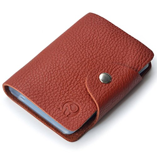 Brown Leather Womens Bank (Coromose Business Credit ID Card Leather Strap Buckle Bank Card Holder)
