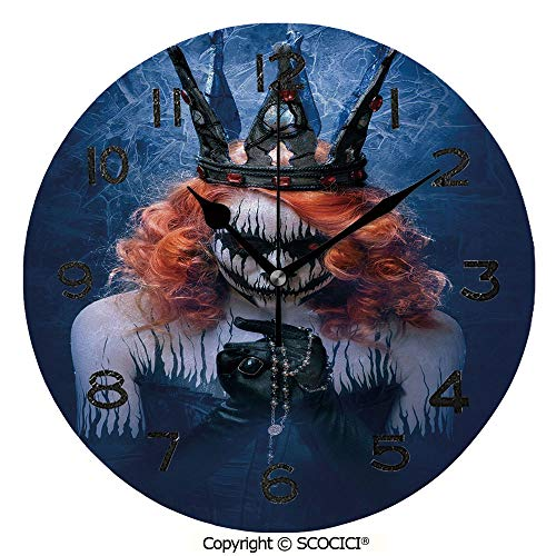 SCOCICI Round Wall Clock Queen of Death Scary Body Art Halloween Evil Face Bizarre Make Up Zombie 10 inch Morden Acrylic Mirror Wall Clocks Silent Round Decorative Clock ()