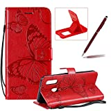 Strap Leather Case for Galaxy A20E,Wallet Leather Case for Galaxy A20E,Herzzer Premium Stylish Pretty 3D Red Butterfly Printed Magnetic Soft Rubber Stand Case with Card Slots