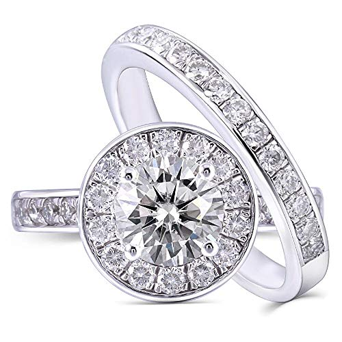 (DovEggs Platinum Plated Silver Center 1ct 6.5mm H Near Colorless Moissanite Halo Engagement Wedding Ring Set 2 Pieces(6) )