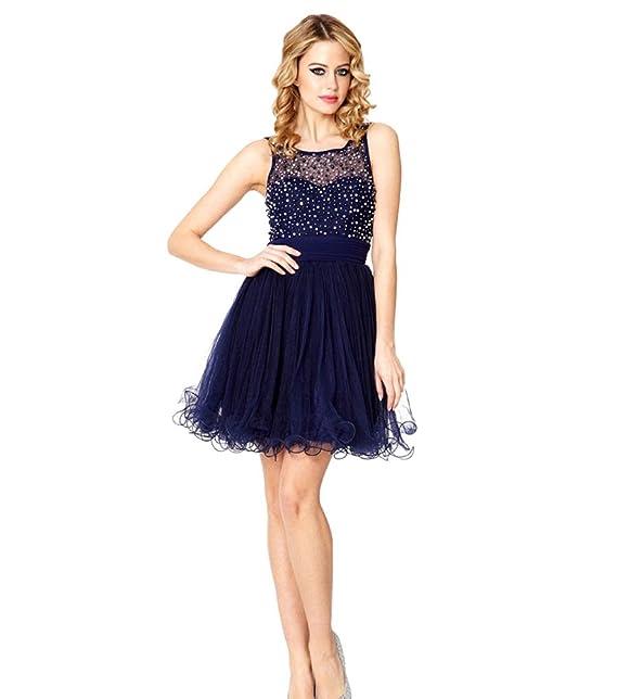 Vimans Mujer 2016 Elegante Corto para Cuentas de Vestido de Fiesta Party Fiesta Azul Azul Marino