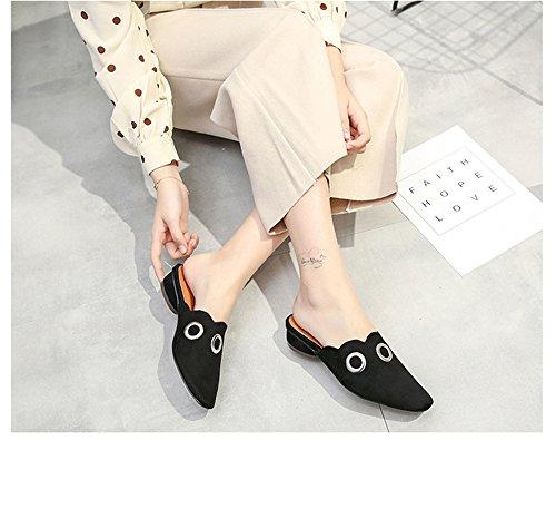 Flats Square Black BeautyOriginal Daily Dress Fashion Everyday Shoes Slingback Toe Womens xY5Hv5qa