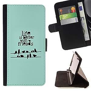 Momo Phone Case / Flip Funda de Cuero Case Cover - Cita Birds verde menta regalo - Samsung Galaxy S6 Active G890A