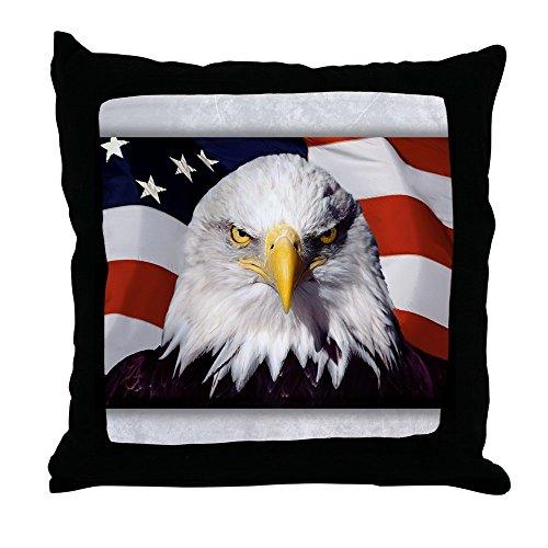 Throw Pillow Bald Eagle on US American Flag