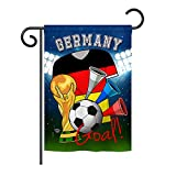 Ornament Collection GS192097-P3 World Cup Germany Soccer Interests Sports Impressions Decorative Vertical 13″ x 18.5″ Garden Flag Set with Banner Pole Included Printed in USA For Sale