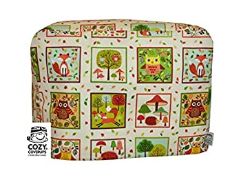 CozyCoverUp for Kitchenaid 5Quart Artisan Tilt Head Stand Mixer Dust Cover Forest Squares on Cream Cotton, Handmade in the UK and fully lined