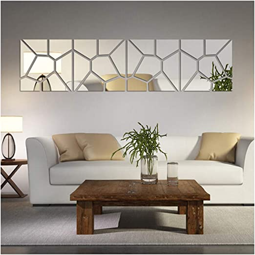 Multi-Pieces=4 Squares Modern Design DIY Mirror Effect Wall Stickers  Bedroom Living Room Wall Decor Art Self Adhesive Mirrored Stickers Mural  Home ...