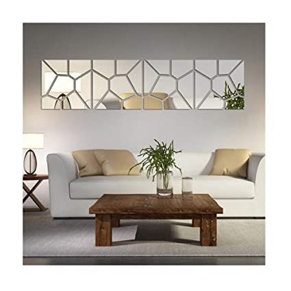 Multi Pieces4 Squares Modern Design DIY Mirror Effect Wall Stickers Bedroom Living Room