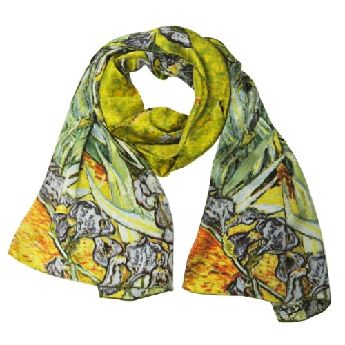 - Wrapables Luxurious 100% Charmeuse Silk Long Scarf with Hand Rolled Edges, Van Gogh's Irises