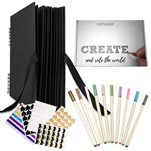 Scrapbook Album Kit for a Wedding Photo Album or Baby Photo Album Included: 10 Calligraphy Metallic Brush Pens Photo Corners- Perfect for Anniversary, Christmas, Travel Book or More Memories-Black!