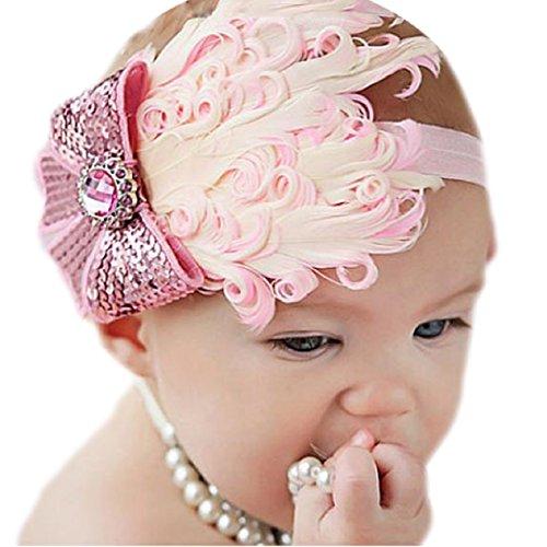 Lookatool® Laverdure belle inhabituelle coton filles bébé Plume rose lumière Hairband Bow bandeau