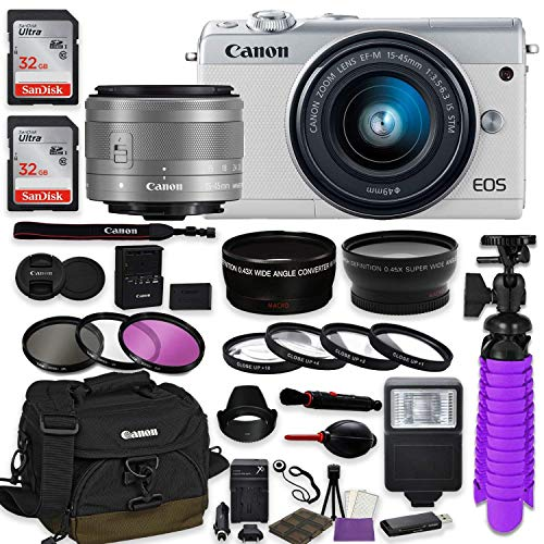 Canon EOS M100 Mirrorless Digital Camera (White) Premium Accessory Bundle with Canon EF-M 15-45mm is STM Lens (Silver) + Canon Water Resistant Case + 64GB Memory + HD Filters + Auxiliary Lenses