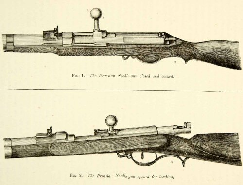1884 Wood Engraving Prussian Dreyese Needle Gun Firearm Breech Loader Rifle Art - Original In-Text Wood Engraving...