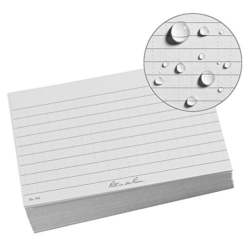 Rite in the Rain All Weather Index Cards, 3 x 5, Universal Pattern, Gray (No. 791)