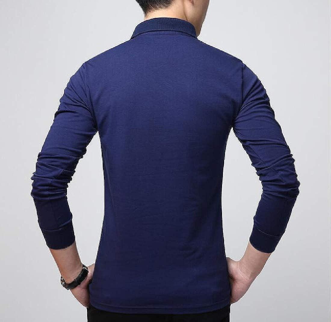 RDHOPE-Men Button Down Long-Sleeve Cotton Lapel Top Shirt T-Shirt