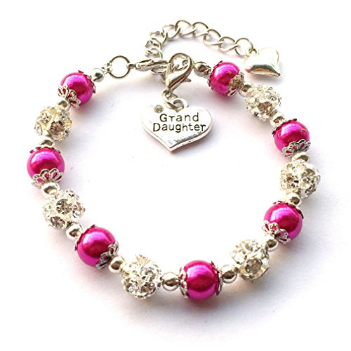 Charm Pearl Simulated (DOLON Simulated Pearl Bead Granddaughter Charm Bracelet Girls Gift Magenta)