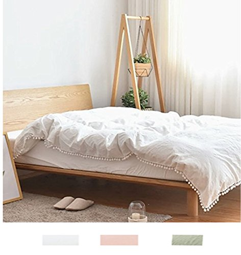 Meaning4 Pom poms Fringe Cotton Duvet Cover White Twin Size 68 x 90inches