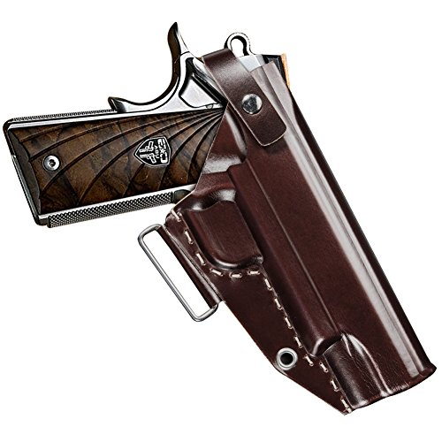 Fnova 1911 Holster, OWB Gun Holster for 1911 Style Handgun, Ultimate Leather Handmade Waistband Belt Holster Fits Colt, Kimber, Para, Springfield (Red-brown/Right Handed)