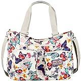 Vbiger Nylon Handbag Casual Messenger Bag Large-capacity Shoulder Bag Travel Tote Bag for Women (Floral White)