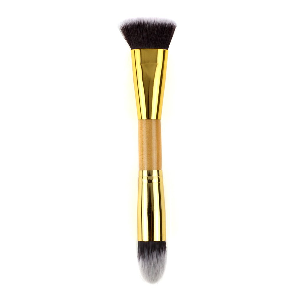 NMKL38 Double Ended Contour Highlight Makeup Brush for Cream, Powder, Foundation, Bronzer and Concealer Blending, Contouring and Highlighting Cosmetics Brush - Vegan and Cruelty Free