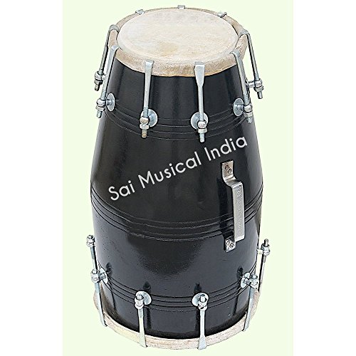 Black Dholak (Dholki), Mango Wood, Bolt-tuned, with Tuning Spanner by SAI MUSICAL