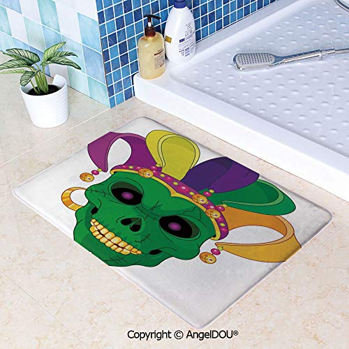 SCOXIXI Absorbent Super Cozy Rectangle Kitchen Bathroom Carpet Scary Looking Green Skull Mask with Carnival Hat Beads and Earring Cartoon Style Decorative Washable Porch Floor Mat W19.6xL31.5(inch)