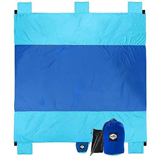 10' 50 Sheet (XL 10' x 9' Sand Proof Beach Blanket for Family with Valuable Zipper Pocket - Nordmiex Oversized Outdoor Beach Picnic Blanket, Compact & Portable Quick Drying Parachute Nylon Blanket)