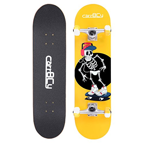 Skateboards, carryBC 31'' Pro Complete Skateboard, 7 Layer Canadian Maple Skateboard Deck for Extreme Sports and Outdoors, Evening Light Powder Skeleton Skating Board, Yellow