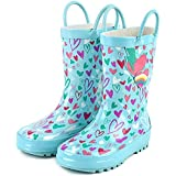 landchief Kids Rain Boots, Waterproof Rubber Rainboots with Easy-On Handles, Boys & Girls
