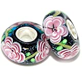 """Solid 925 Sterling Silver Two-Piece """"Black Background with Pink Flowers and Green Stems"""" Glass Charm Bead for European Snake Chain Bracelets"""