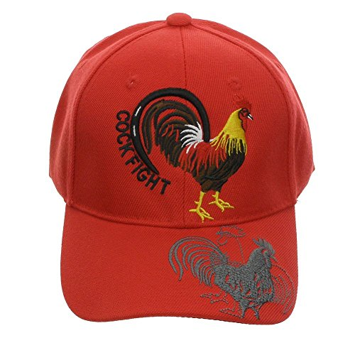 - DivaDesigns Unisex Embroidered Rooster Cock Fight Cap Red